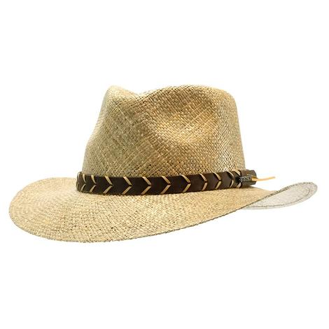 Stetson Alder 3inch Brim Light Dark Leather Hatband Wheat Straw Hat