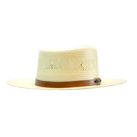 Stetson Brentwood 3inch Brim Leather Band Natural Straw Hat