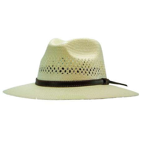 Stetson Digger 3.25 Brim Dark Brown Leather Band Natural Straw Hat