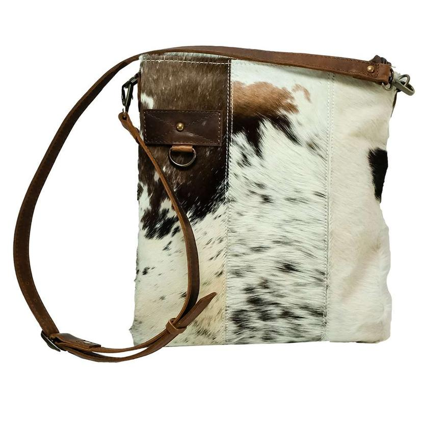 American Darling Bags Tan And White Cowhide Zipper Crossbody
