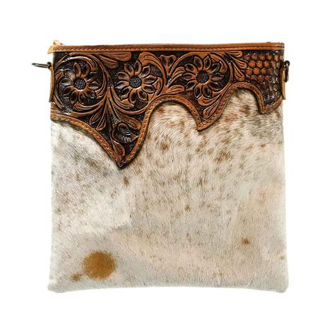 American Darling Bags Tan White Crossbody Hand Tooled Leather Top