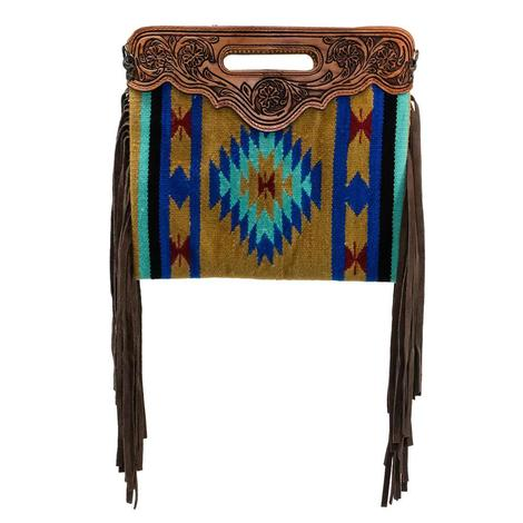 American Darling Wool Shoulder Bag Hand Tooled with Fringe
