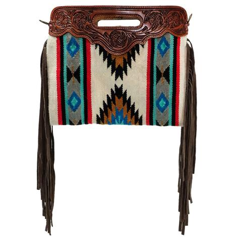 American Darling Wool Shoulder Bag Hand Tooled Top