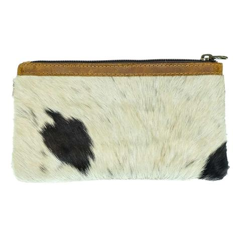 American Darling Bags Brown White Hide Zipper Pouch