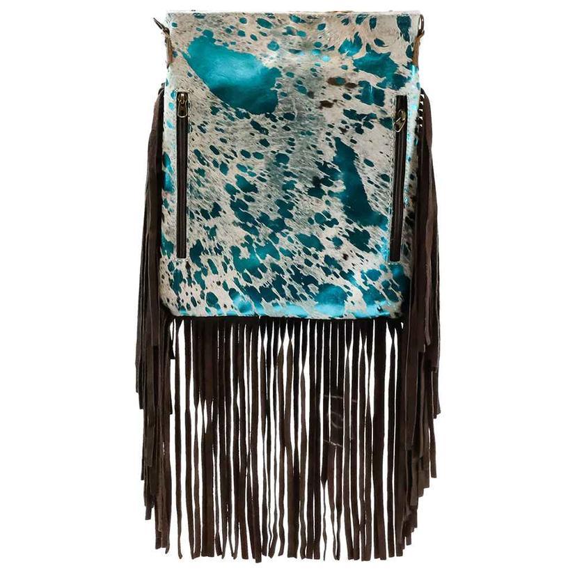 American Darling Tan White Turquoise Acid Wash Hide Crossbody Bag