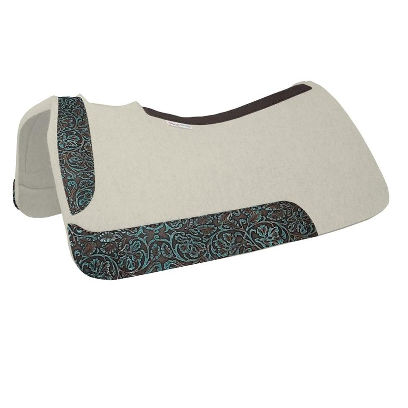5 Star Barrel Racer Contoured Pad With Turquoise Brown Cowboy Tool 30 X 28 X 7/8