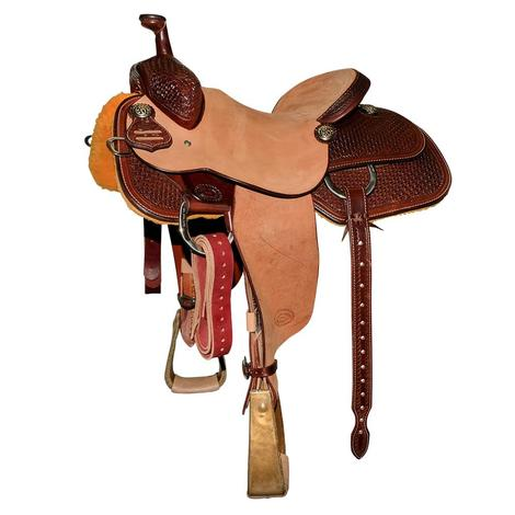 STT Team Roper Half Chocolate Tooled Half Natural Roughout Saddle