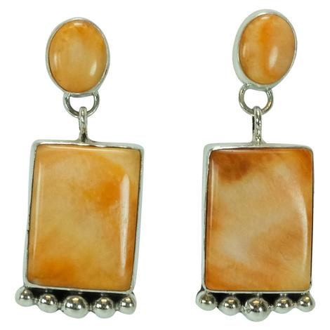 Spiny Oyster Rectangle Drop Earrings