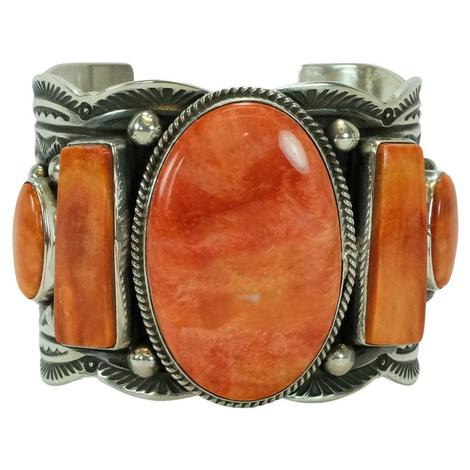 Silver and Orange Spiny Oyster Cuff