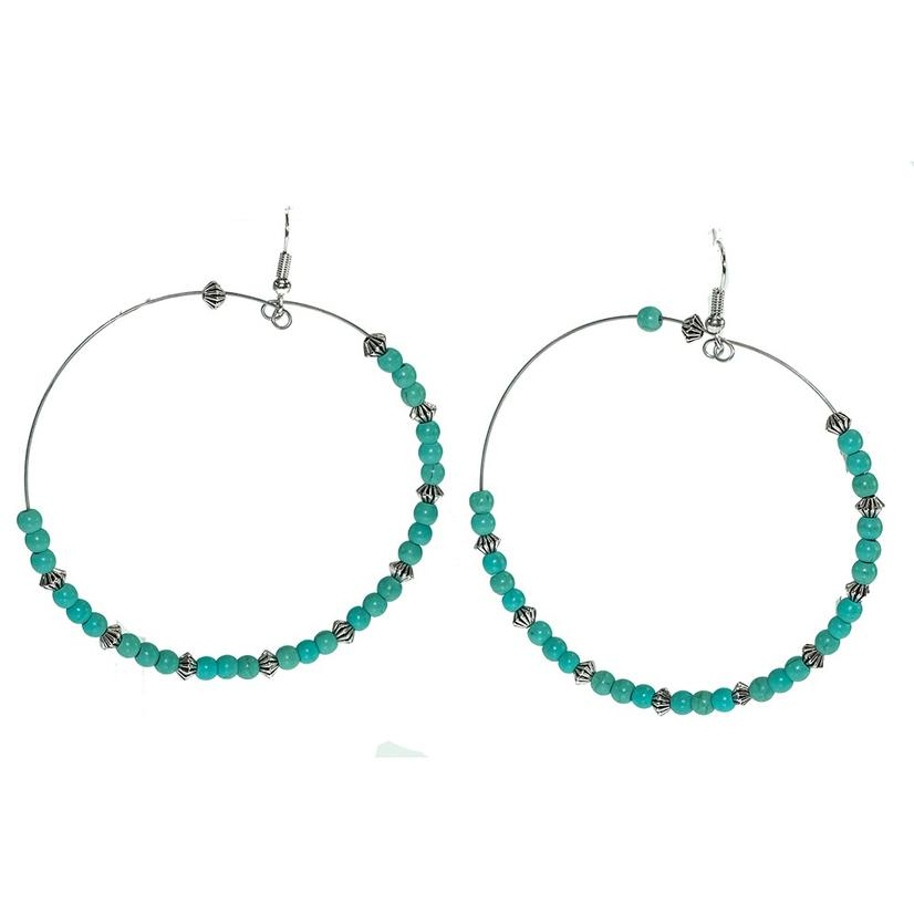 Silver Pearl And Turquoise Large Hoop Earrings