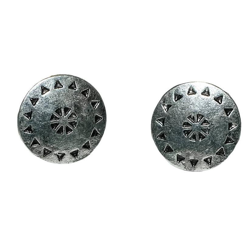 Silver Tribal Stud Earrings