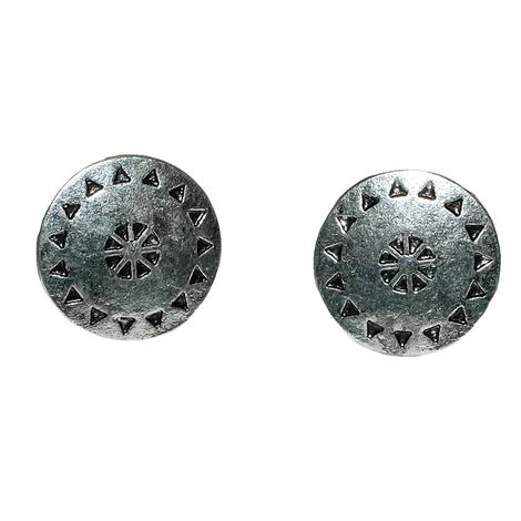 Silver Tribal Stud Earrings