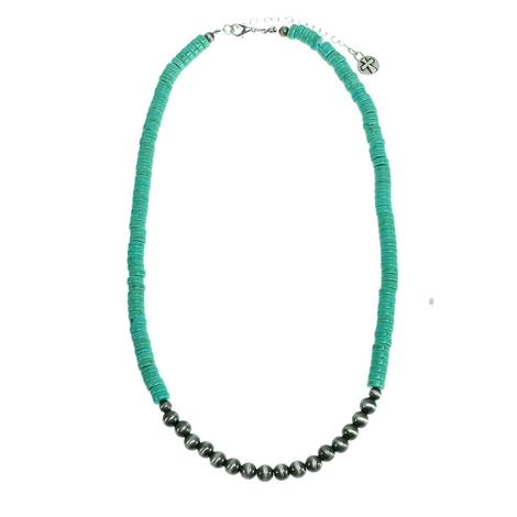 Turquoise Bead and Silver Pearl Necklace