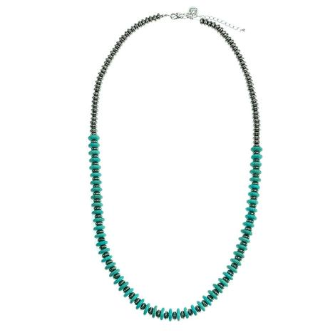 Silver Bead and Turquoise Ellipse Bead Necklace
