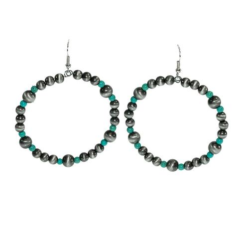Turquoise and Silver Bead Earrings