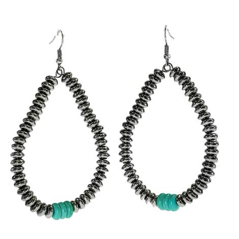 Silver and Turquoise Bead Loop Earrings