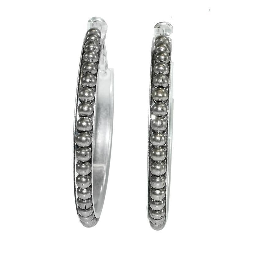 Silver Dot Hoop Earrings