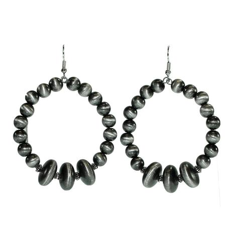 Silver Pearl Loop Earrings
