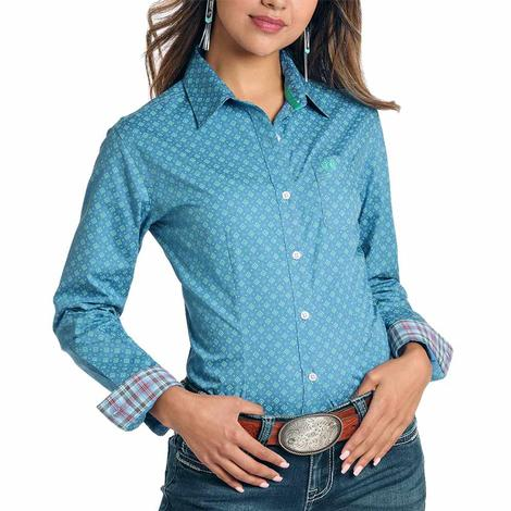 Panhandle Blue Print Long Sleeve Button Down Women's Shirt