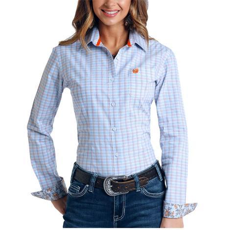Panhandle Light Blue Dobby Check Long Sleeve Button Down Women's Shirt