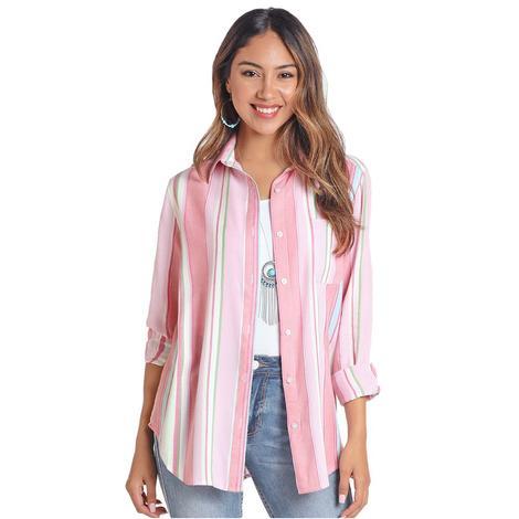 Panhandle Pink Striped Long Sleeve Buttondown Women's Shirt