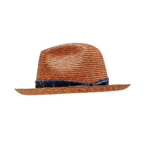 Wyeth Archie Wheat Straw Hat with Braided Chambray Hatband