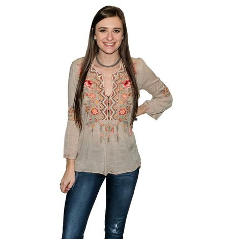 Johnny Was Collection Alise Flare Sleeve BOHO Blouse