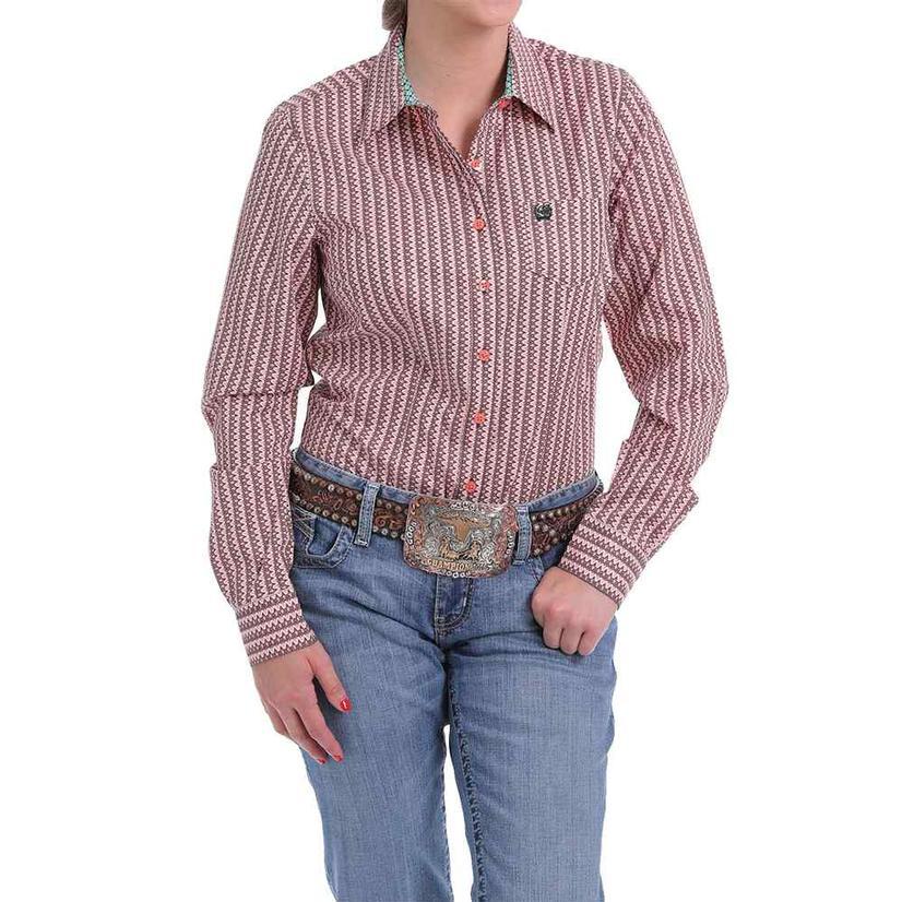 Cinch Coral Pink Print Long Sleeve Women's Shirt