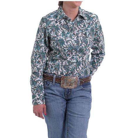 Cinch Teal Pink Paisley Print Long Sleeve Women's Shirt