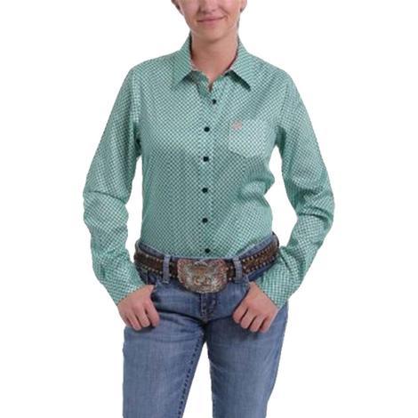 Cinch Mint Green Print Tencel Long Sleeve Women's Shirt