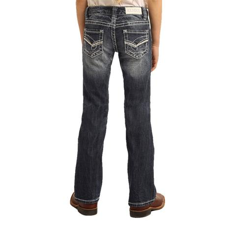 Rock and Roll Cowgirl Dark Vintage Bootcut Girl's Jeans