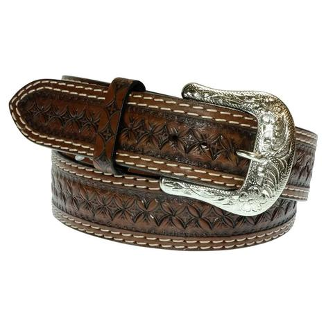 Brown Tooled Double Stitch Men's Belt