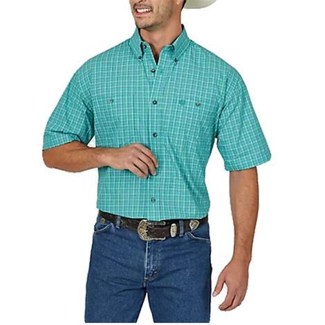 Wrangler George Strait Emerald Plaid Short Sleeve Shirt