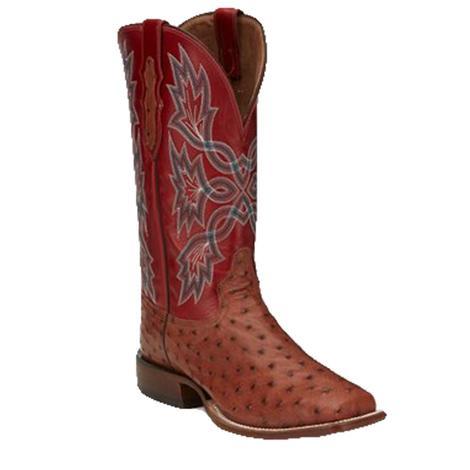 Tony Lama Bennet Brandy Full Quill Ostrich Men's Boots