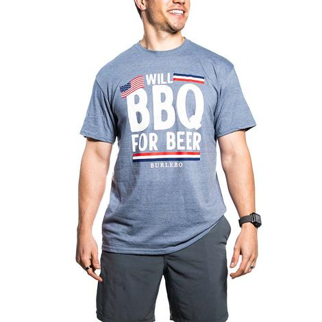Burbelo Will BBQ For Beer Men's Heather Blue Tee