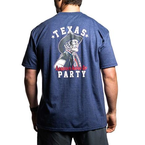 Texas Knows How to Party Heather Navy Men's Tee