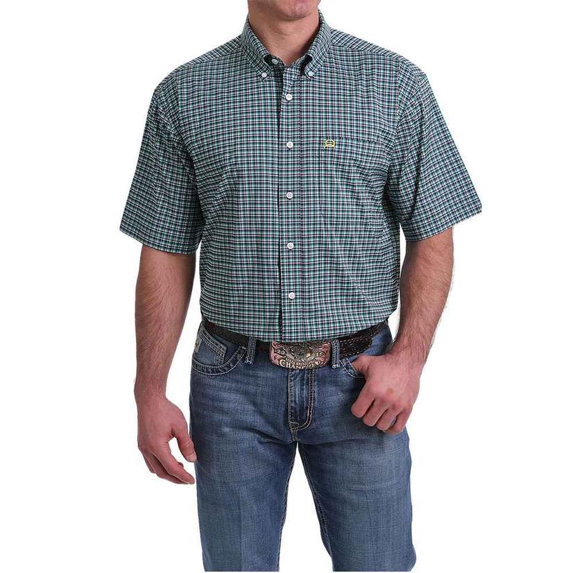 Cinch Arenaflex Navy Teal Plaid Mens Short Sleeve Shirt