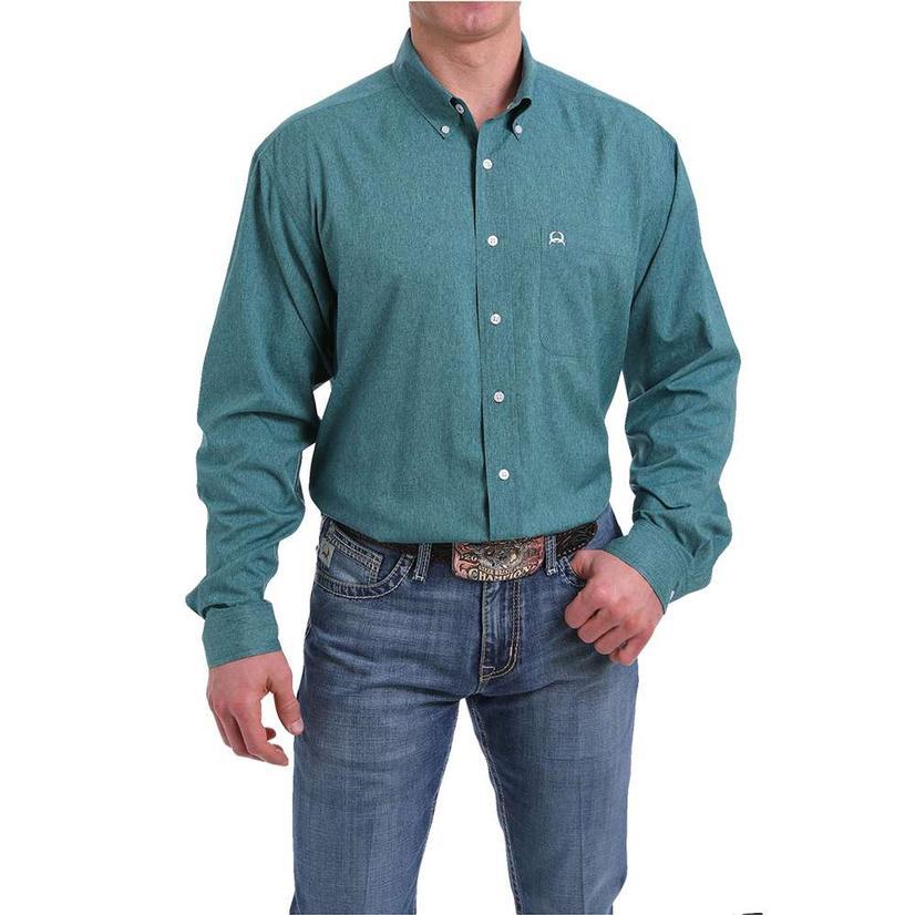 Cinch Heather Green Long Sleeve Mens Shirt