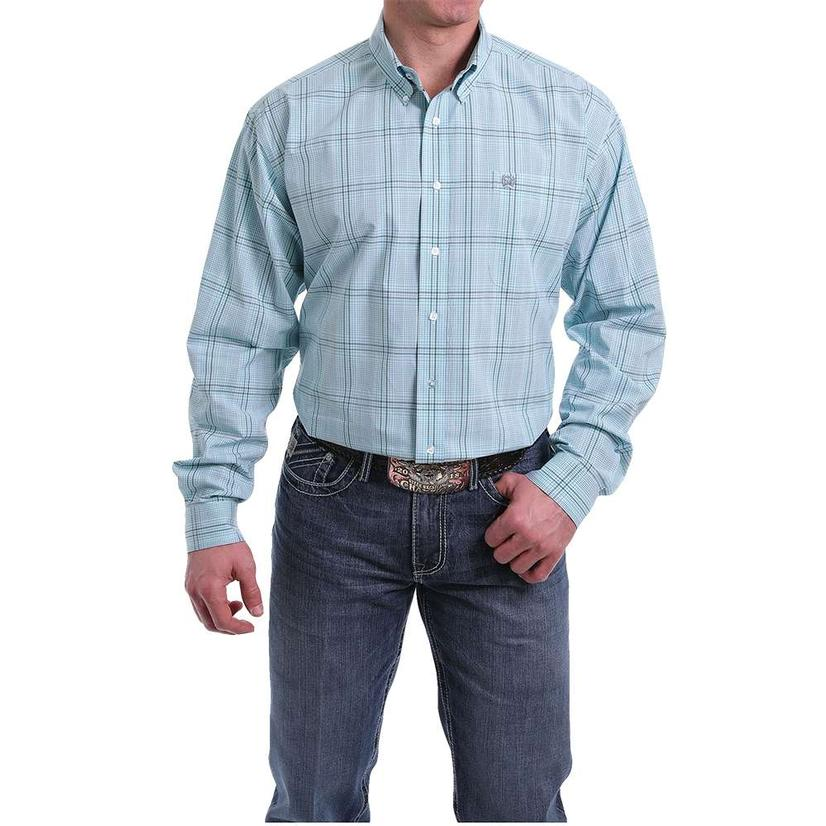 Cinch Light Blue Plaid Long Sleeve Men's Shirt