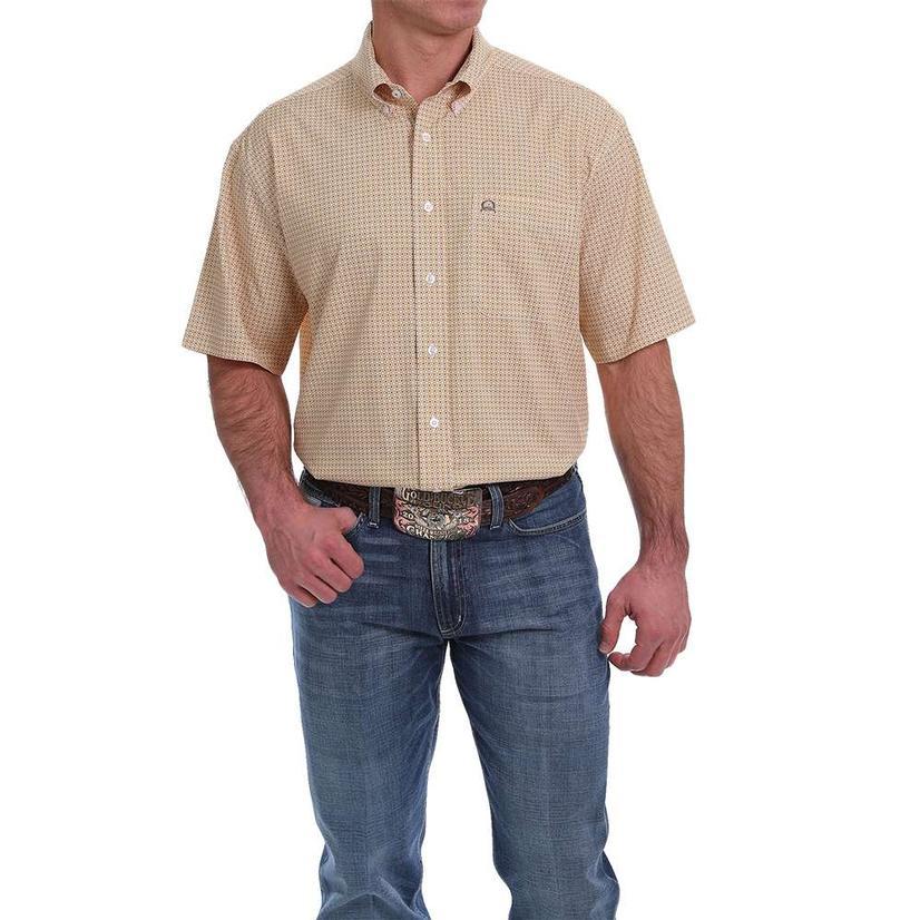 Cinch Gold Print Short Sleeve Buttondown Men's Shirt