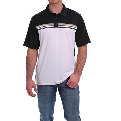 Cinch White Black Short Sleeve Polo Men's Shirt