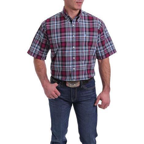 Cinch Burgundy Plaid Short Sleeve Buttondown Men's Shirt