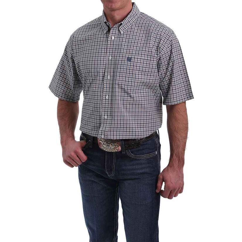 Cinch Navy Plaid Short Sleeve Buttondown Men's Shirt