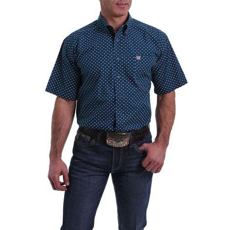 Cinch Navy Diamond Print Short Sleeve Buttondown Men's Shirt