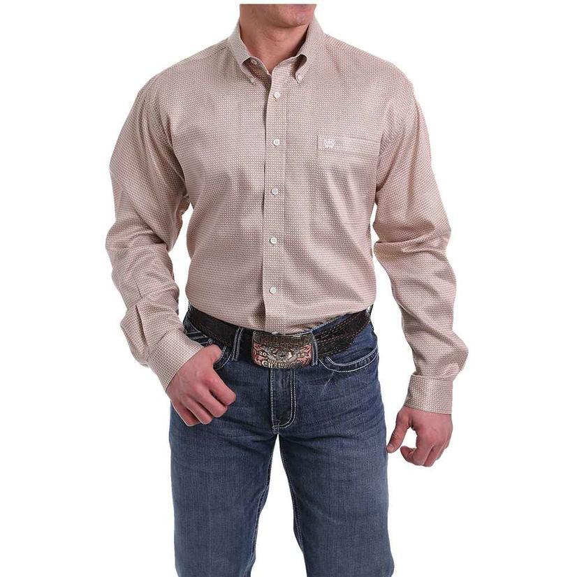 Cinch Khaki White Print Tencel Long Sleeve Men's Shirt
