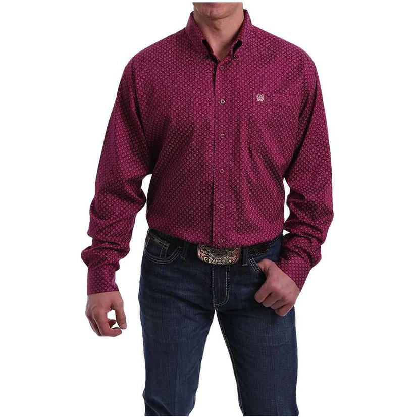 Cinch Burgundy Teardrop Print Long Sleeve Buttondown Men's Shirt