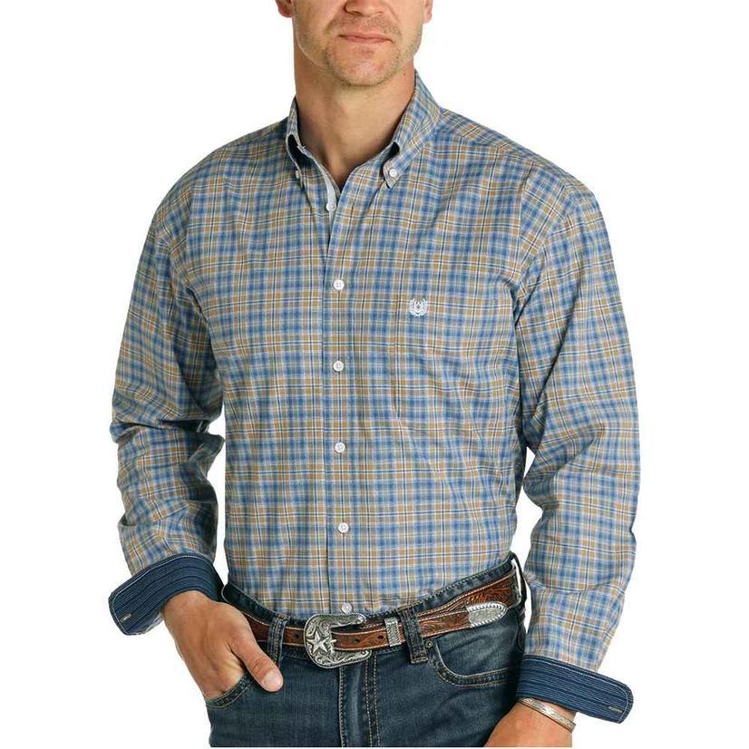 Panhandle Navy Brown Plaid Buttondown Men's Shirt