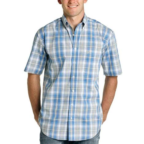 Panhandle Blue White Plaid Short Sleeve Buttondown Men's Shirt