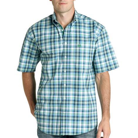 Roper Light Blue Small Print Short Sleeve Shirt