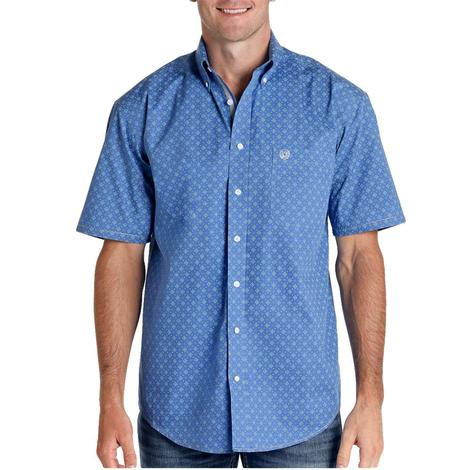 Panhandle Blue Print Short Sleeve Buttondown Men's Shirt